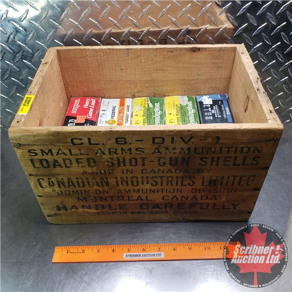 """AMMO: Large Variety (12ga 2-3/4"""") (10 Boxes of 25 = 250 Total) with Vintage CIL Wooden Box"""