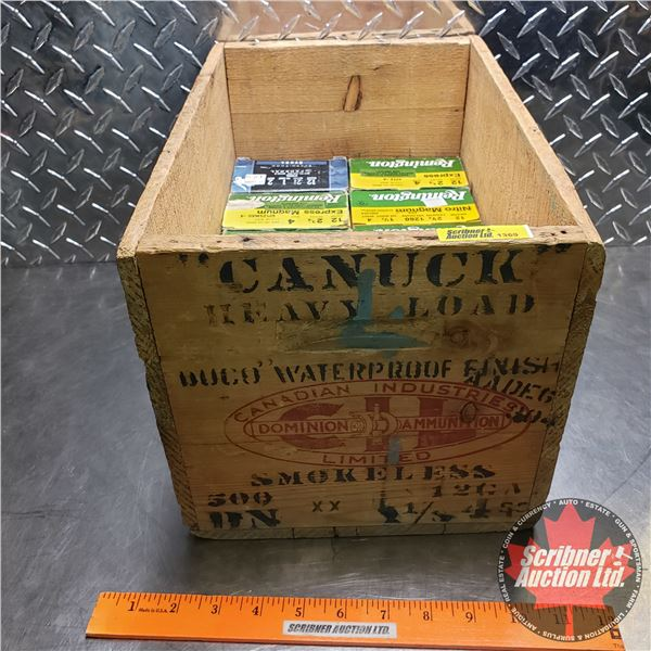 """AMMO: Winchester XPERT 12ga 2-3/4"""" (15 Boxes of 25 = 375 Total) comes with Vintage CIL Wooden Box"""