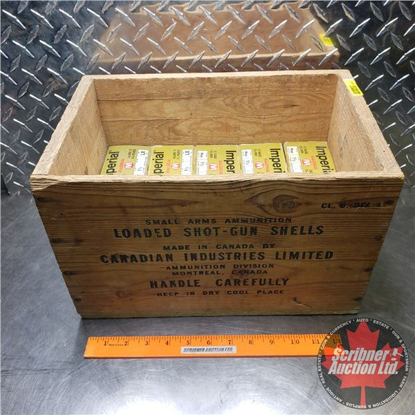 """AMMO: Imperial Magnum 12ga 2-3/4"""" (1-1/2oz : 4 Shot) (10 Boxes = 249 Total) with Vintage Wooden Ammo"""