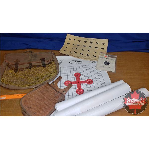 Tray Lot: Paper Targets, Satchel & Belt Pouch
