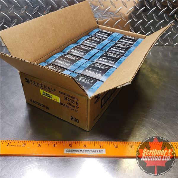 """AMMO: Case Lot: Federal Hi-Brass Load .410ga 3"""" (11/16oz : 6 Shot) (10 Boxes of 25 = 250 Rnds Total)"""