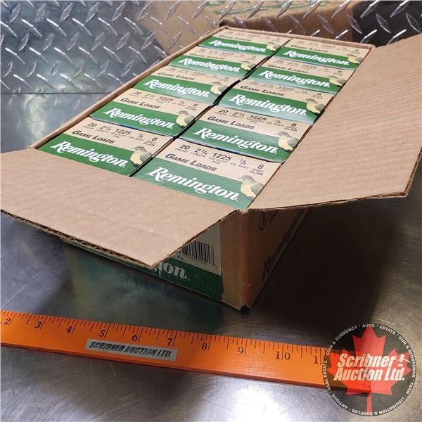 "AMMO: Case Lot: Remington Game Loads 20ga 2-3/4"" (7/8oz : 8 Shot) (10 Boxes of 25 = 250 Total)"