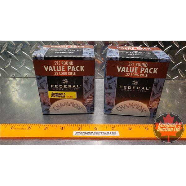 AMMO: Federal Champion 22LR (36gr Hollow Point) (2 Boxes of 525 = 1050 Total)
