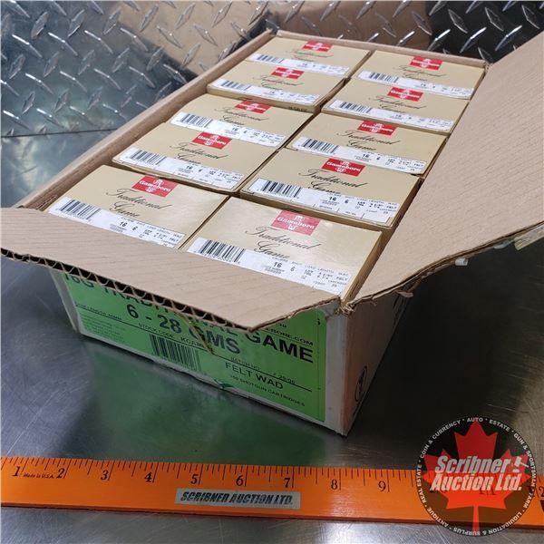 "AMMO: Case Lot: Kent Gamebore Traditional Game 16ga 2-1/2"" (1oz : 6 Shot) (10 Boxes of 25 = 250 Tota"