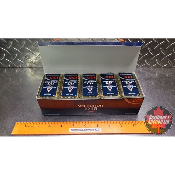 AMMO: Brick : CCI Velocitor Small Game 22LR - 40gr Hollow Point (10 Boxes of 50 = 500 Rnds Total)