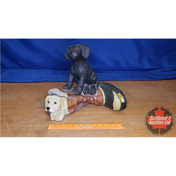 """Duck's Unlimited Puppies in Boot Statue (12""""H) (Slight Damage in Back)"""