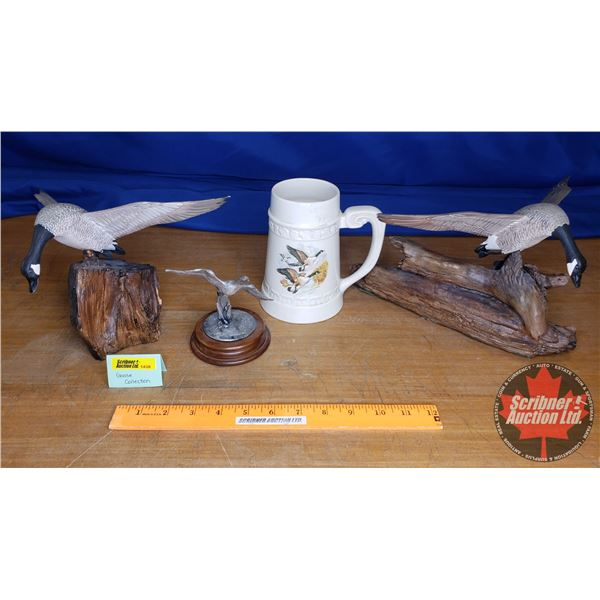 Canada Goose Theme Collection: 2 Wood Carvings, 1 Trophy, 1 Beer Stein