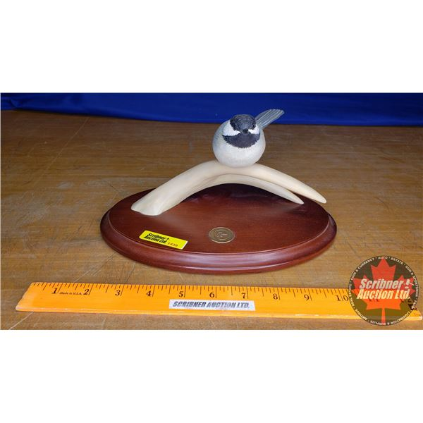 """Duck's Unlimited Chickadee on Antler Ornament (5""""H)"""
