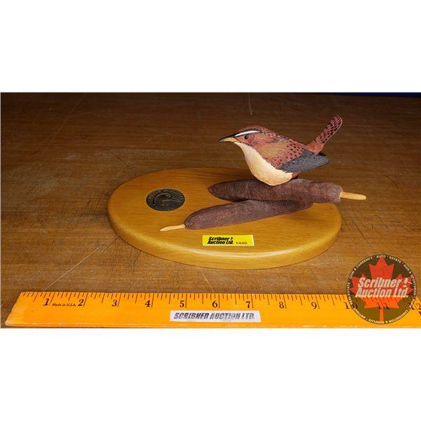 "Duck's Unlimited Wren on Cattails (4""H)"