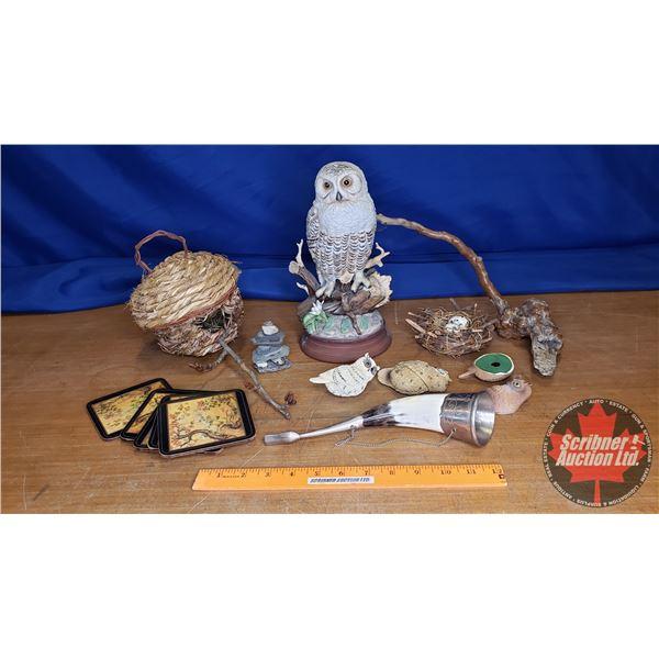 Tray Lot: Decorations, Birds, etc (See Pics)