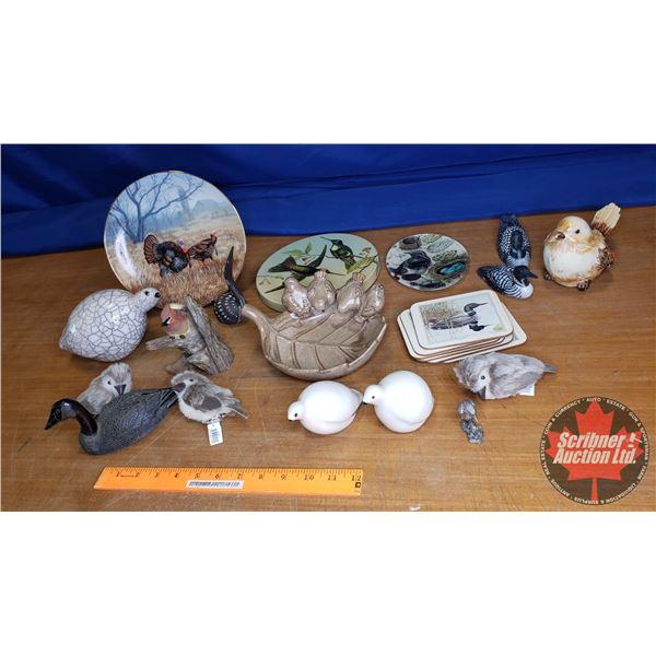 Tray Lot: Bird Ornaments & Plates (See Pics)