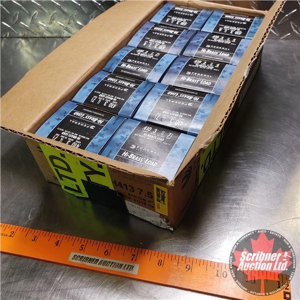 "AMMO: Case Lot: Federal Hi-Brass .410ga 3"" (11/16oz : 7-1/2 Shot) (10 Boxes of 25 = 250 Total)"