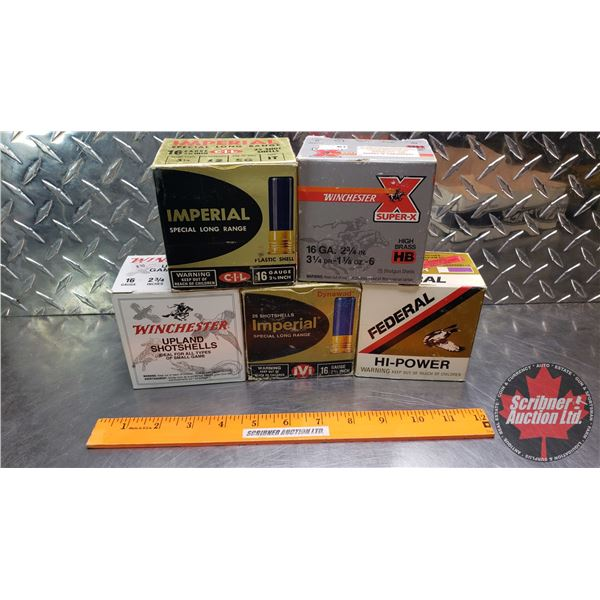 """AMMO: Vintage : 16ga 2-3/4"""" (Variety of Brands Incl. Federal, Imperial & Winchester) (5 Boxes = 124"""
