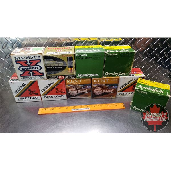 """AMMO: Tray Lot: 16ga 2-3/4"""" Variety of Brands (Incl. Remington, Winchester, CIL, Federal & Kent) (23"""