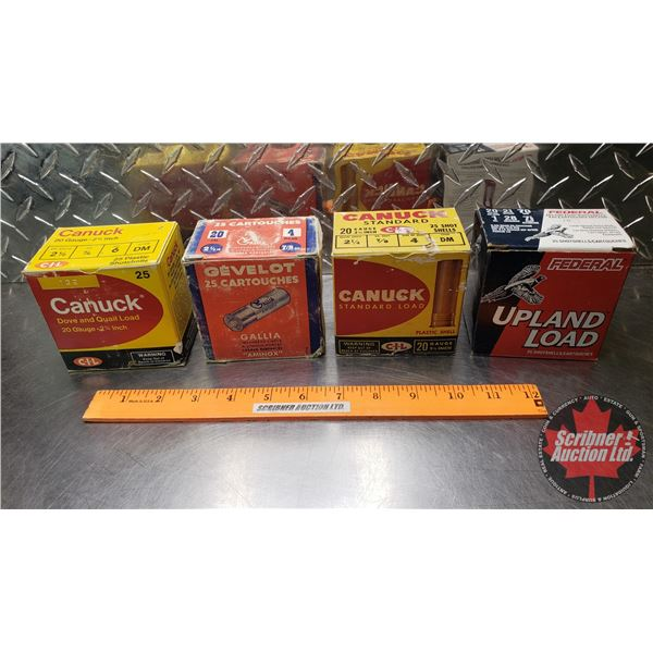 """AMMO: Tray Lot: 20ga 2-3/4"""" (Variety of Brands Incl. Canuck, Gevelot & Federal) (99 Total)"""