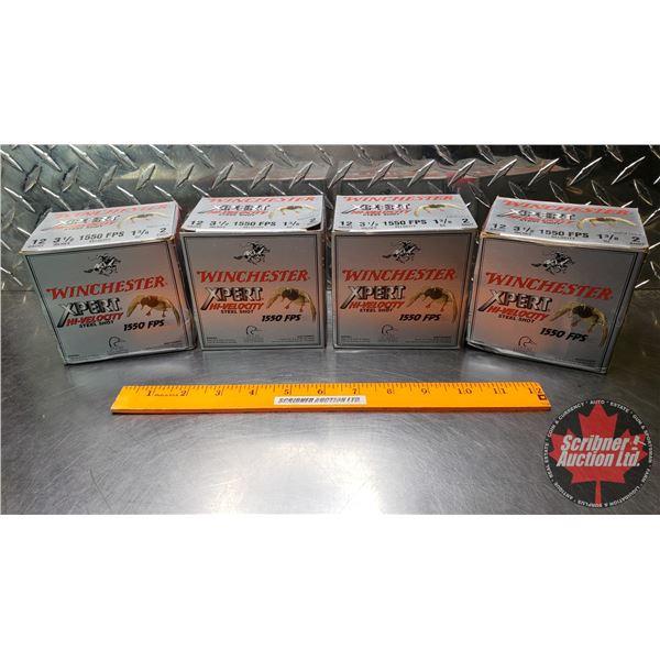 "AMMO: Box Lot: Winchester Xpert Hi-Velocity 12ga 3-1/2"" (1550 FPS 1-3/8oz : 2 Shot) (4 Boxes of 25 ="