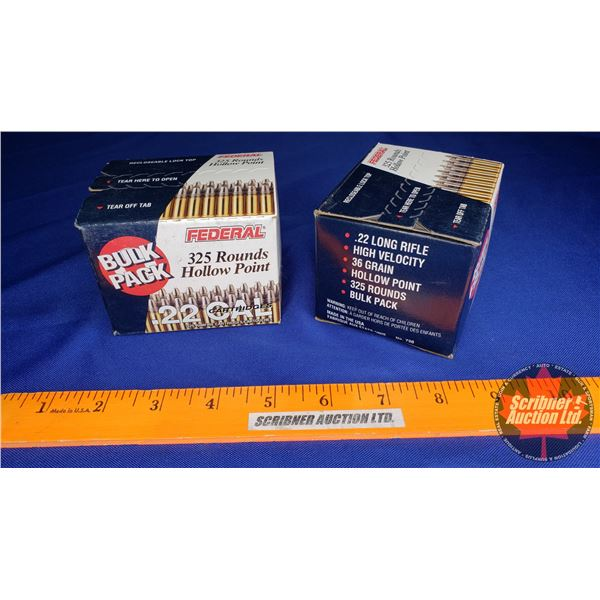 AMMO: Federal Bulok Pack .22LR High Velocity Hollow Point (2 Boxes of 325 = 650 Total)