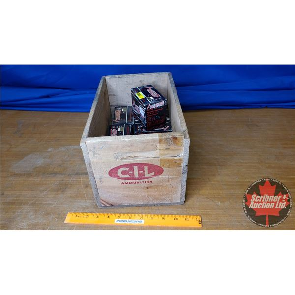 """AMMO: Vintage Meteor 12ga 2-3/4"""" (8 Boxes of 20 = 160 Total) with Vintage CIL Wooden Box"""