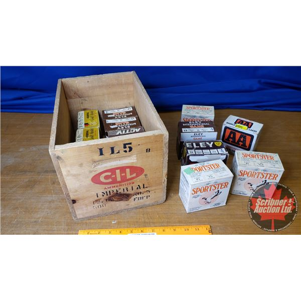 """AMMO: Variety 12ga 2-3/4"""" (14 Boxes of 25 = 350 Total) with Vintage CIL Wooden Box"""
