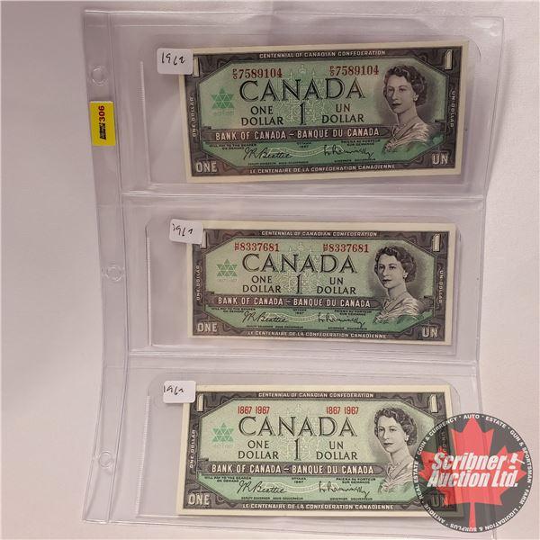 Canada $1 Bills 1967 Centennial (3): Beattie/Rasminsky (#PO7589104 ; HP8337681 & No S/N#) (See Pics