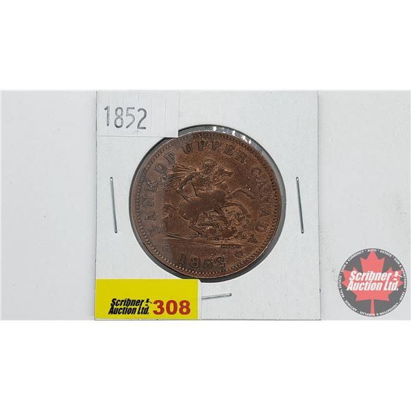 Bank of Upper Canada : Bank Token One Penny 1852