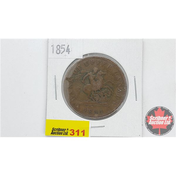 Bank of Upper Canada 1854 Bank Token One Penny