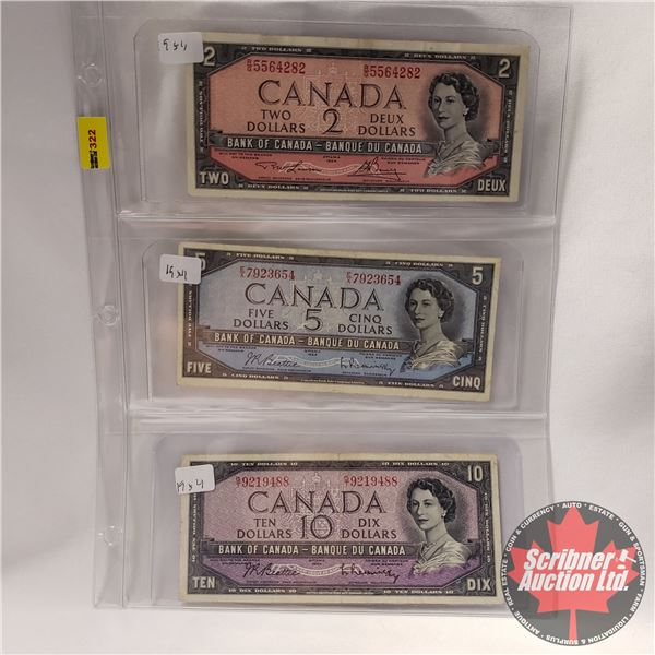 Canada 1954 Bills (3): $2 ; $5; $10 (See Pics for Signatures/Serial Numbers)