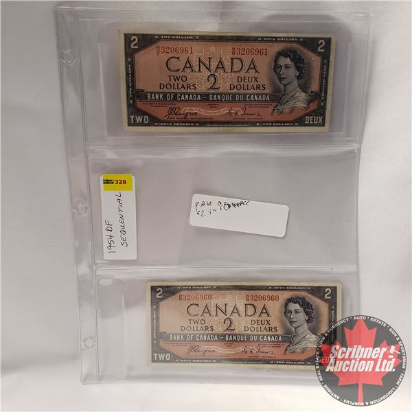Canada $2 Bills 1954DF (2 Sequential) : Coyne/Towers #BB3206960-6961