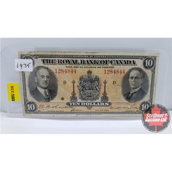 The Royal Bank of Canada $10 Bill (S/N#1284844) (See Pics for Signatures/Serial Numbers)