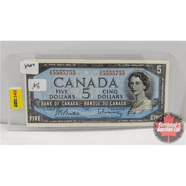 Canada $5 Bill 1954 (Note: 2 Digit S/N#VS5555755 Beattie/Rasminsky)