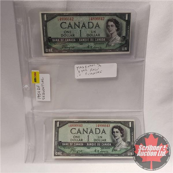 Canada $1 Bills 1954DF (2 Sequential) #CA4896642/43 Coyne/Towers