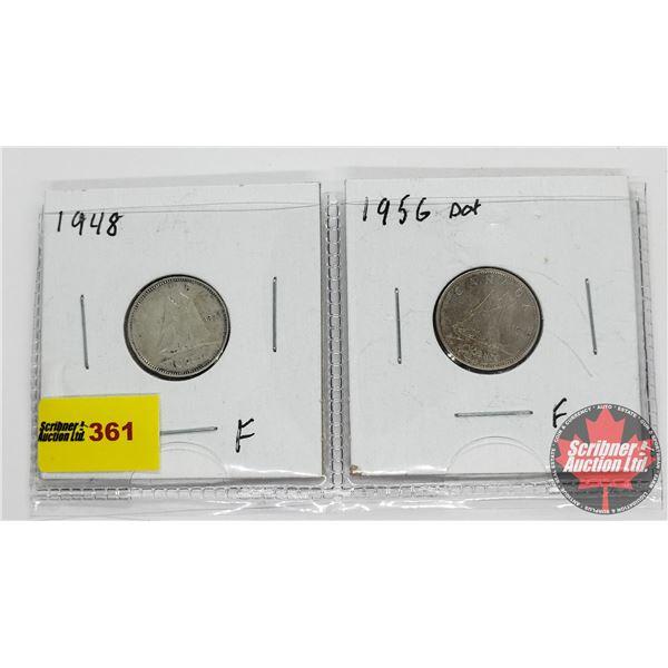 Canada Ten Cent - Strip of 2: 1948; 1956 Dot