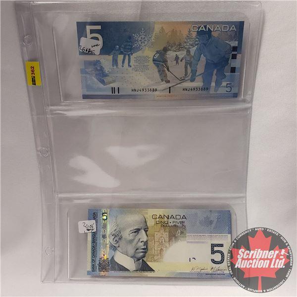 Canada $5 Bills (2) : 2002 Knight/Dodge #HNJ33889 ; 2006 Jenkins/Carney #APN0439128 (See Pics for Si