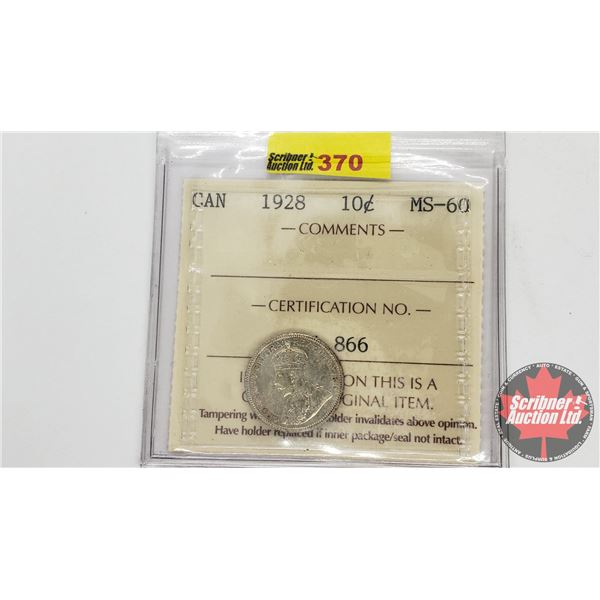Canada Ten Cent 1928 (ICCS Cert MS-60)