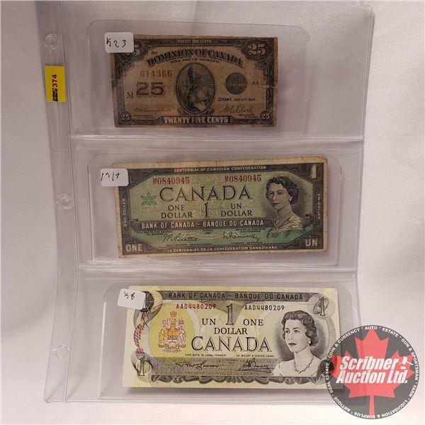 """Canada Bills (3) : 1923 Twenty Five Cent """"Shinplaster"""" ; 1967 $1 Bill ; 1973 $1 Bill (See Pics for S"""