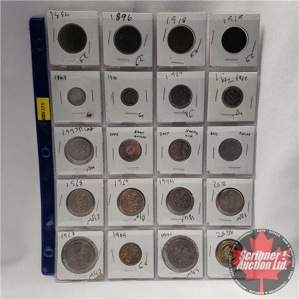 Canada Coins - Sheet of 20: Large Cent (1884; 1896; 1918; 1919) Five Cent (1907; 1910; 1927; 1967) T