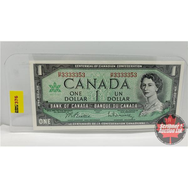 Canada $1 Bill 1967 (Note: 2 Digit S/N#HP3333353 Beattie/Rasminsky) (See Pics for Signatures/Serial