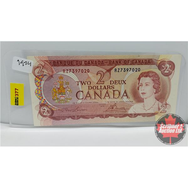 Canada $2 Bill 1974 Lawson/Bouey #RZ7397020 (See Pics for Signatures/Serial Numbers)