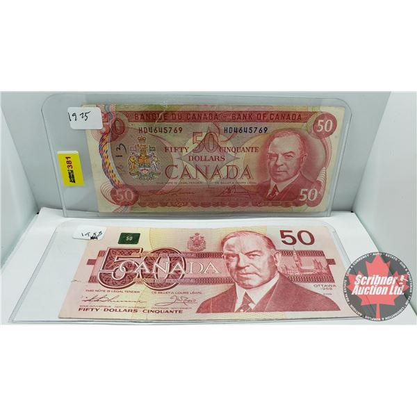 Canada $50 Bills (2): 1975 Lawson/Bouey #HD4645769 ; 1988 Thiessen/Crow #FHF0564797 (See Pics for Si
