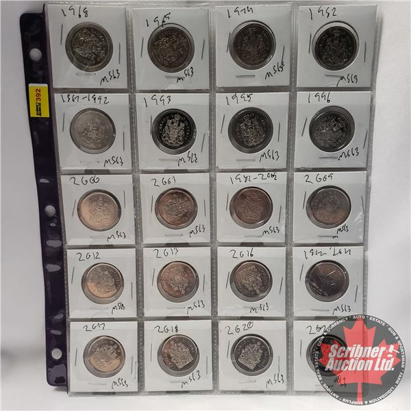 Canada Fifty Cent - Sheet of 20: 1968; 1969; 1974; 1982; 1992; 1993; 1995; 1996; 2000; 2001; 2002; 2