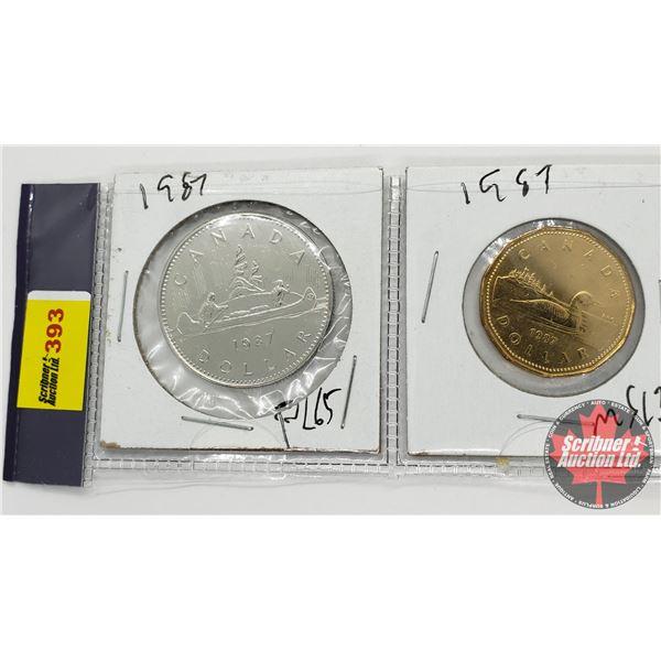 Canada One Dollar Coins (2): 1987; 1987