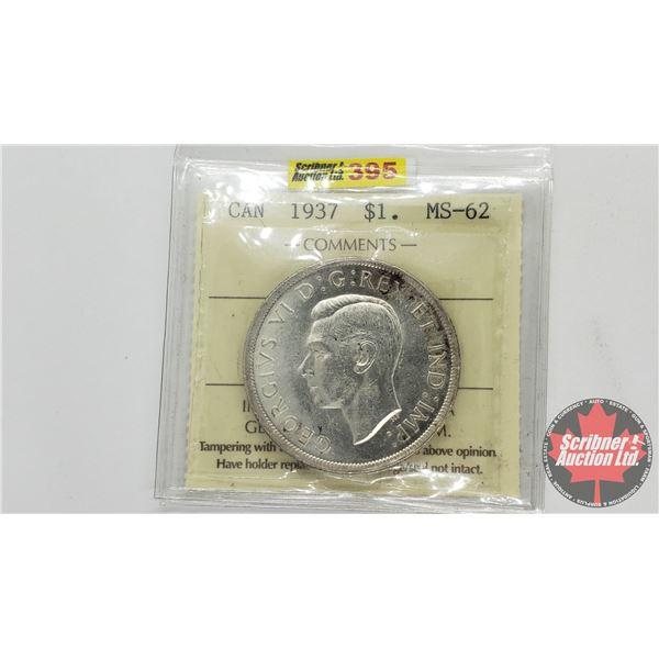 Canada Silver Dollar 1937 (ICCS Cert MS-62)