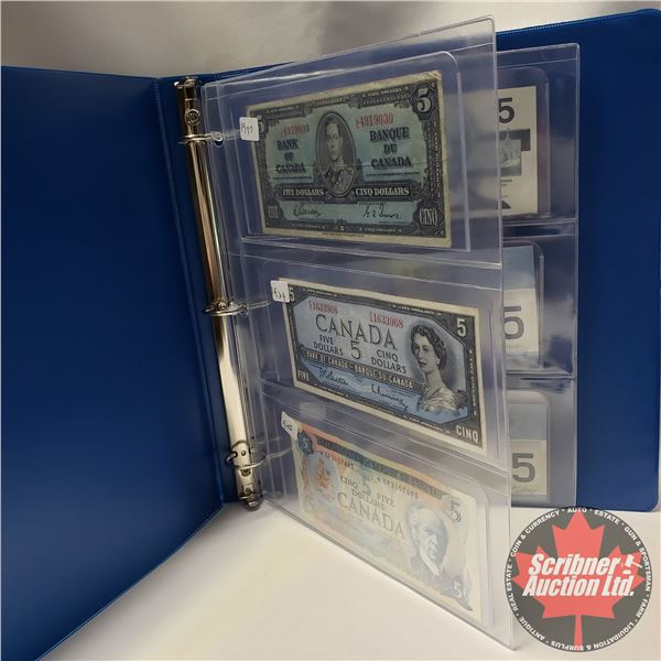 Canada $5 Bill Collection (6): 1937; 1954; 1972*; 1986; 2002; 2006 (See Pics for Signatures/Serial N