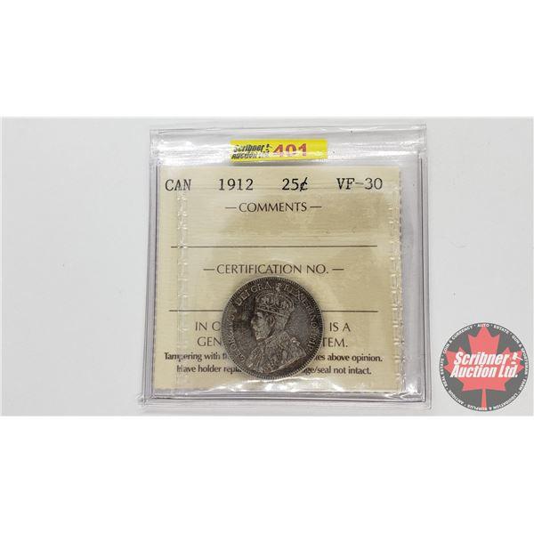 Canada Twenty Five Cent 1912 (ICCS Cert VF-30)