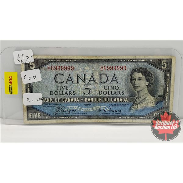 Canada $5 Bill 1954DF (NOTE 2 Digit S/N#CC6999999 Coyne/Towers) (See Pics for Signatures/Serial Numb