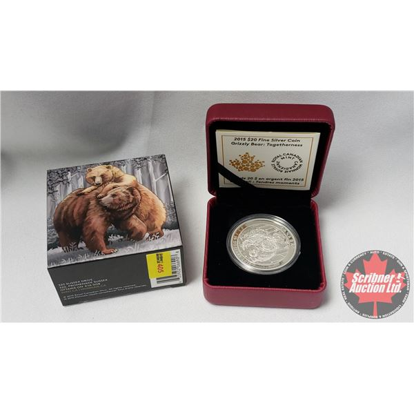 RCM 2015 Fine Silver $20 Coin : Grizzly Bear: Togetherness (99.99%) (COA 3256/6500)