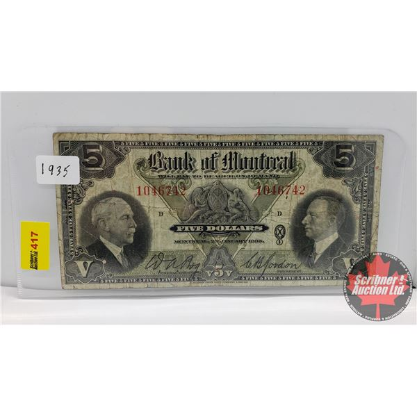 Bank of Montreal $5 Bill 1935 S/N#1046742 (See Pics for Signatures/Serial Numbers)
