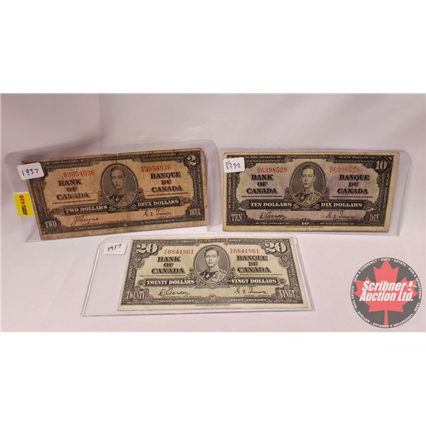 Canada Bills 1937 (3) : $2 ; $10 ; $20 (See Pics for Signatures/Serial Numbers)