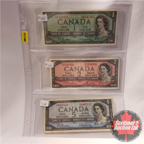 Canada Bills 1954 (3): $1 ; $2 ; $5 (See Pics for Signatures/Serial Numbers)