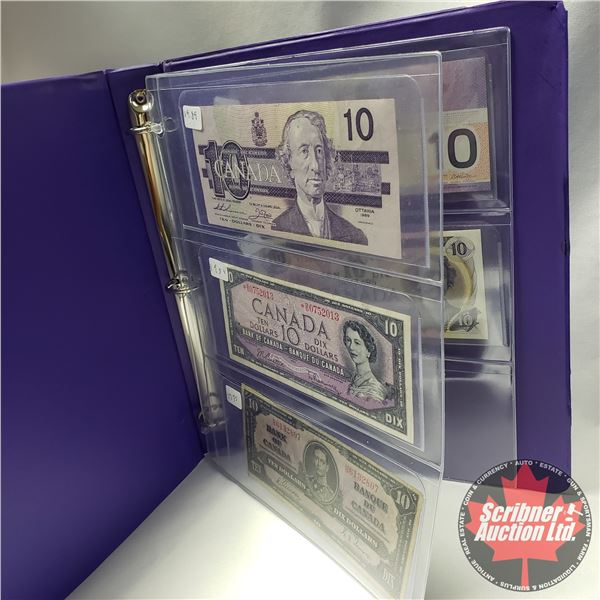 Canada $10 Bills (5): 1989; 1954; 1937; 2001; 1971 (See Pics for Signatures/Serial Numbers)